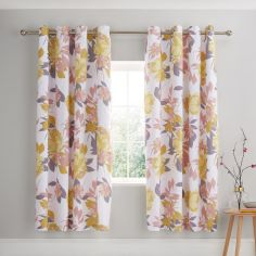 Catherine Lansfield Elina Floral Fully Lined Eyelet Curtains - Blush Pink