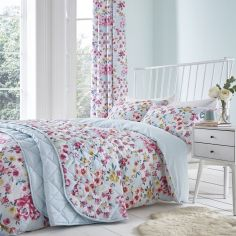 Catherine Lansfield Flower Patchwork Duvet Cover Set - Duck Egg Blue