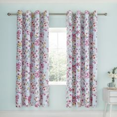 Catherine Lansfield Flower Pathwork Fully Lined Eyelet Curtains - Duck Egg Blue