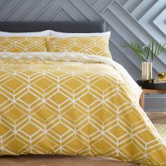 Catherine Lansfield Network Geo Duvet Cover Set - Ochre Yellow