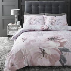 Catherine Lansfield Dramatic Floral Duvet Cover Set - Blush Pink