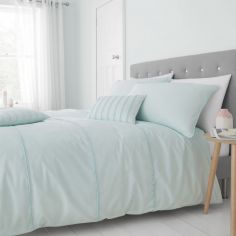 Catherine Lansfield Pom Pom Duvet Cover Set - Mint Blue