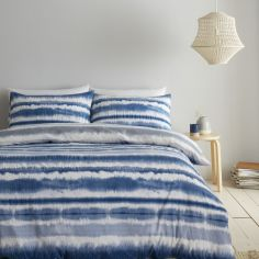 Catherine Lansfield Tie Dye Seersucker Stripe Duvet Cover Set - Blue