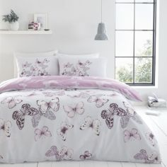 Catherine Lansfield Scatter Butterfly Duvet Cover Set - Heather Pink