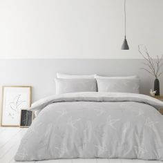 Catherine Lansfield Linear Swallows Duvet Cover Set - Grey