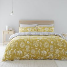 Catherine Lansfield Retro Birds Duvet Cover Set - Ochre Yellow