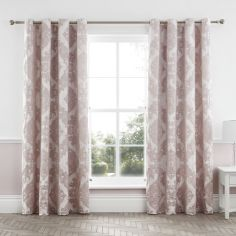 Catherine Lansfield Rococo Jacquard Fully Lined Eyelet Curtans - Blush Pink