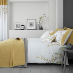 Catherine Lansfield Embroidered Blossom Duvet Cover Set - White