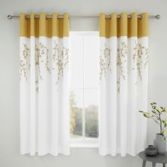 Catherine Lansfield Embroidered Blossom Fully Lined Eyelet Curtains - White