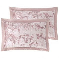 Catherine Lansfield Crushed Velvet Pair of Pillowshams - Blush Pink