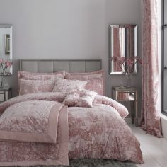 Catherine Lansfield Crushed Velvet Duvet Cover Set - Blush Pink