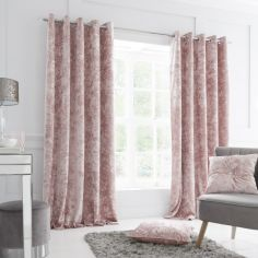 Catherine Lansfield Crushed Velvet Fully Lined Eyelet Curtains - Blush Pink