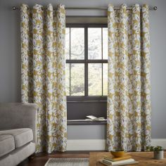 Catherine Lansfield Inga Leaf Floral Fully Lined Eyelet Curtains - Ochre Yellow