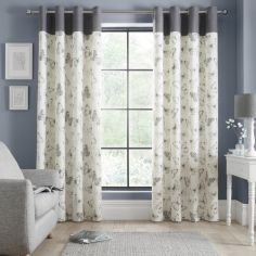 Catherine Lansfield Sibella Butterfly Fully Lined Eyelet Curtains - Ochre Yellow