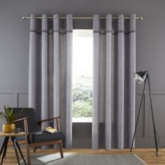 Catherine Lansfield Melville Woven Texture Fully Lined Eyelet Curtains - Grey