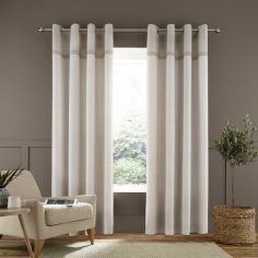 Catherine Lansfield Melville Woven Texture Eyelet Curtains - Natural