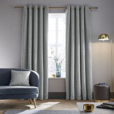 Catherine Lansfield So Soft Luxe Velvet Fully Lined Eyelet Curtains - Silver Grey