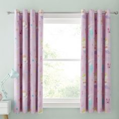 Catherine Lansfield Kids Lets Be Mermaids Blackout Lined Eyelet Curtains - Pink