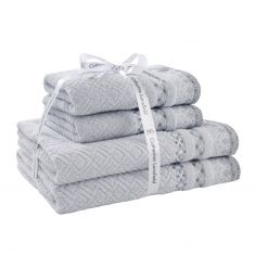 Catherine Lansfield 100% Cotton Malawa Geo Bands Towel - Silver Grey