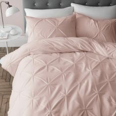 Catherine Lansfield Pinch Pleat So Soft Duvet Cover Set - Blush Pink