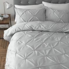 Catherine Lansfield Pinch Pleat So Soft Duvet Cover Set - Silver Grey