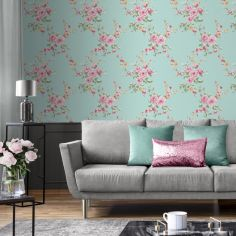 Catherine Lansfield Canterbury Floral Wallpaper - Duck Egg Blue