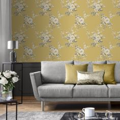 Catherine Lansfield Canterbury Floral Wallpaper - Ochre Yellow