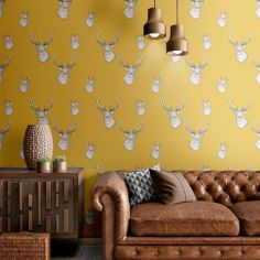 Catherine Lansfield Animal Stag Wallpaper - Ochre Yellow