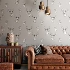 Catherine Lansfield Animal Stag Wallpaper - Silver Grey