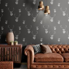 Catherine Lansfield Animal Stag Wallpaper - Charcoal Grey