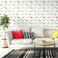 Catherine Lansfield Silly Sausage Dog Wallpaper - Multi