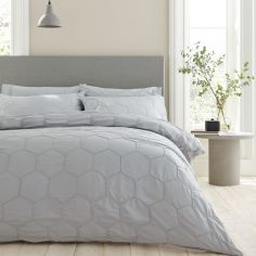 Bianca Honeycomb Pinch 100% Cotton Duvet Cover Set - Dove Grey