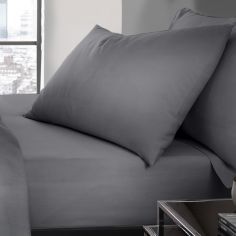 Serene Plain Dye Easy Care Pair Of Housewife Pillowcase - Charcoal