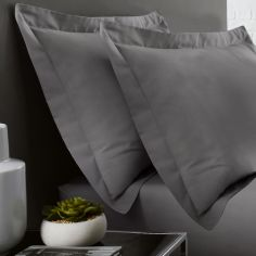 Serene Plain Dye Easy Care Pair Of Oxford Pillowcase - Charcoal