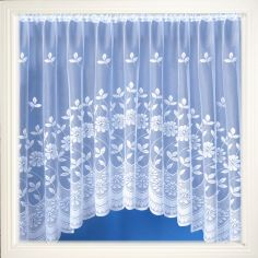 Rome Floral White Jardiniere Net Curtain