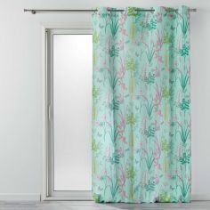 Fresh Garden Floral Voile Panel with Eyelets - Mint
