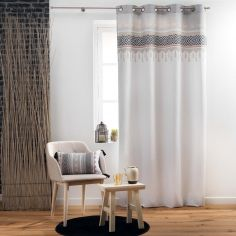 Voyage Berbere Cotton Curtain Panel with Eyelets - Natural