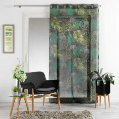 Tropical Green Voile Panel with Eyelets - Charcoal Grey
