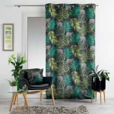 Tropical Green Curtain Panel with Eyelets - Charcoal Grey