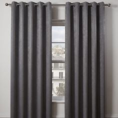 Matrix Woven Plain Eyelet Ring Top Thermal Blockout Curtains - Charcoal Grey