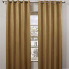 Matrix Woven Plain Eyelet Ring Top Thermal Blockout Curtains - Ochre Yellow