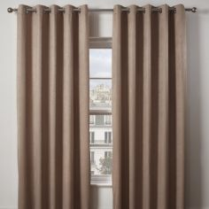 Matrix Woven Plain Eyelet Ring Top Thermal Blockout Curtains - Taupe