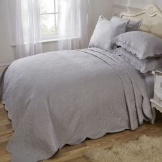 Athena Quilted Paisley Motif Bedspread Set - Silver Grey