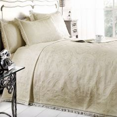 Mafalda Cotton Rich Jacquard Bedspread - Cream