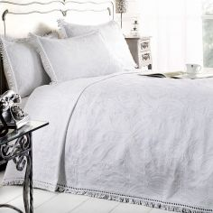 Mafalda Cotton Rich Jacquard Bedspread - White