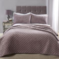 Regent Quilted Soft Touch Velvet Bedspread Set - Heather