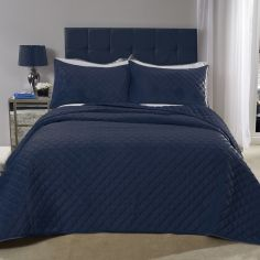 Regent Quilted Soft Touch Velvet Bedspread Set - Navy Blue