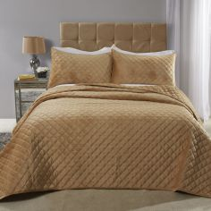 Regent Quilted Soft Touch Velvet Bedspread Set - Ochre Yellow