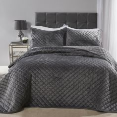 Regent Quilted Soft Touch Velvet Bedspread Set - Silver Grey
