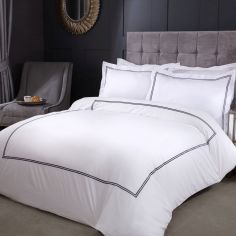 Mayfair Embroidered Duvet Cover Set with Oxford Pillowcase(s) - Graphite Grey